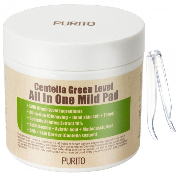 Purito Пилинг Пэды с BHA и Центеллой Centella Green Level All In One Mild Pad, 130 мл (70 шт)