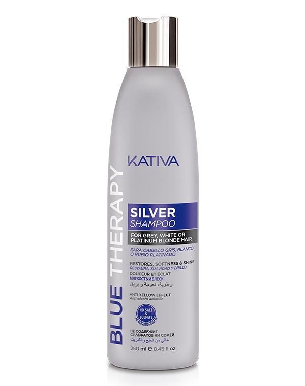 Kativa Шампунь Blue Therapy Нейтрализатор Желтизны для Осветленных и Мелированных Волос, 250 мл