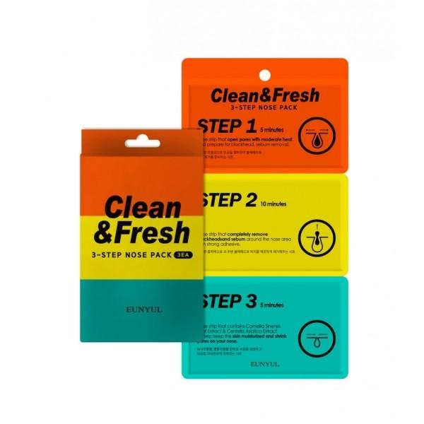 Eunyul Трехэтапные Полоски для Носа Clean & Fresh 3-Step Nose Pack полоски для носа skinlite алоэ 3 шт