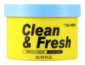 Eunyul Отшелушивающие Диски для Обновления Кожи Clean & Fresh Pimple Sebum Clear Pad, 170 мл