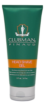 Clubman Гель Head Shave Gel Увлажняющий для Бритья Прозрачный, 177 мл