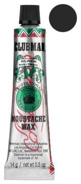 Clubman Воск Moustache Wax Black для Укладки и Подкрашивания Бороды с Щеточкой Черный, 15г