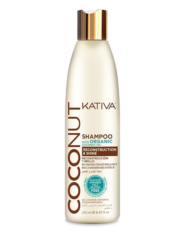 Kativa Шампунь Coconut Восстанавливающий для Поврежденных Волос, 250 мл шампунь коллагеновый kativa