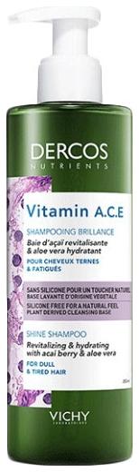 VICHY Шампунь Dercos Nutrients Vitamin A.C.E Shampoo для Блеска Волос Нутриентс Витамин, 250 мл