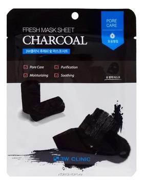 3W Clinic Маска Fresh Charcoal Mask Sheet, Тканевая для Лица с Углем, 23 мл тканевая маска для лица с древесным углем fresh charcoal mask sheet