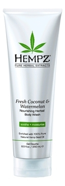 HEMPZ Гель Fresh Coconut&Watermelon Herbal Body Wash для Душа с Кокосом и Арбузом, 250 мл