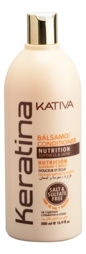 Kativa Бальзам Keratina Кератиновый Укрепляющий для Всех Типов Волос, 500 мл kativa кератиновый укрепляющий шампунь для всех типов волоc keratina 500 мл