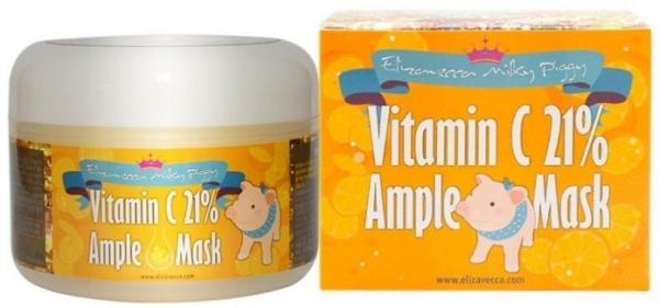 Elizavecca Маска Milky Piggy Vitamin C 21% Ample Mask Осветляющая для Лица с 21% Витамина C, 100г смесь глицерина и витамина е для лица
