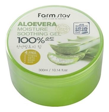 FarmStay Гель Moisture Soothing Gel Aloevera Увлажняющий Успокаивающий с Экстрактом Алоэ Вера, 300 мл гель для тела farmstay универсальный смягчающий с экстрактом алоэ aloe vera moisture soothing gel 300 мл