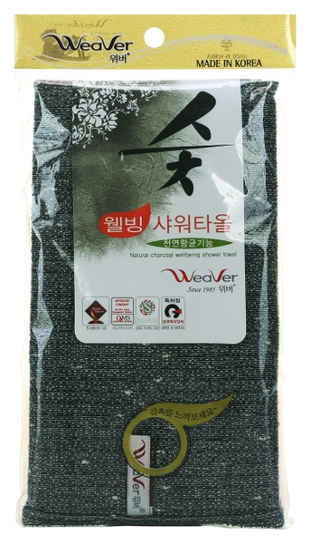 WeaVer Мочалка для Тела с Углем Natural Charcoal Wellbeing Shower Towel