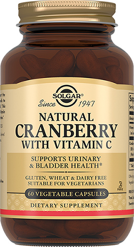 Solgar Клюква Natural Cranberry with Vitamin C Натуральная с Витамином С Капсулы №60