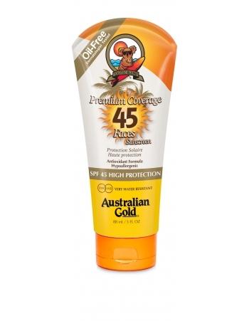 Australian Gold Защитный Лосьон для Лица, Загара на Солнце Premium Coverage SPF 45 Sheer Faces, 88 мл