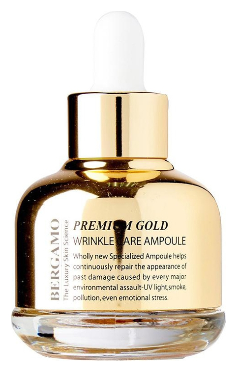 Bergamo Сыворотка Premium Gold Wrinkle Care Ampoule Ампульная с Золотом Антивозрастная, 30 мл цена 2017