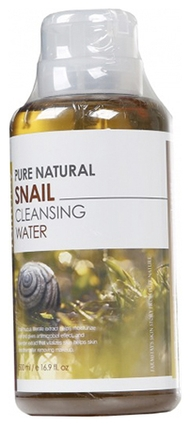 FarmStay Очищающая Вода с Муцином Улитки Pure Natural Snail Cleansing Water, 500 мл farmstay очищающая вода с витаминами pure natural dr v 8 vitamin cleansing water 500 мл
