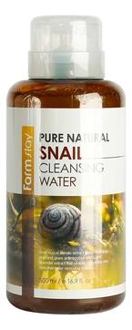 FarmStay Вода Pure Natural Snail Cleansing Water Очищающая с Муцином Улитки, 500 мл farmstay пенка snail moisture cleansing foam увлажняющая очищающая с муцином улитки 100 мл
