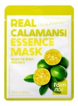 FarmStay Маска Real Calamansi Essence Mask Тканевая для Лица с Экстрактом Каламанси, 23 мл farmstay тканевая маска для лица с экстрактом персика real peach essence mask 23 мл