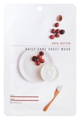 Eunyul Тканевая Маска для Лица с Маслом Ши Shea Butter Daily Care Sheet Mask, 22г тканевая маска для лица с экстрактом масла ши nature source cell mask shea butter 25 гр