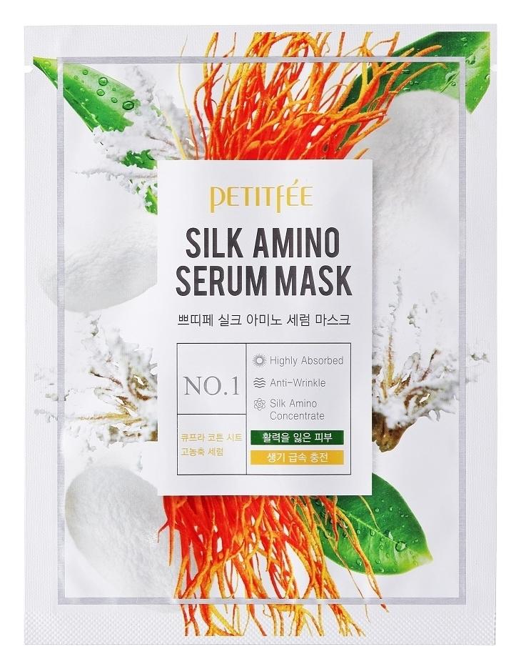 Petitfee Тканевая Маска с Аминокислотами Шелка Silk Amino Serum Mask, 25г