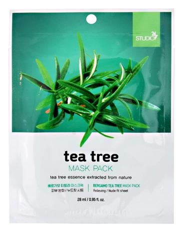 Bergamo Тканевая Маска для Лица с Экстрактом Чайного Дерева Tea Tree Mask Pack, 28 мл rainbowbeauty антиоксидантная маска пилинг ночной крем с экстрактом чайного дерева