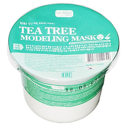 Фото - La Miso Маска Tea Tree Modeling Mask Альгинатная с Чайным Деревом, 28г альгинатная маска для лица с маслом чайного дерева cool tea tree modeling mask cup pack 28г