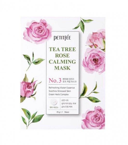 Фото - Petitfee Маска Tea Tree Rose Calming Mask Успокаивающая для Лица с Экстрактом Чайного Дерева и Розы, 30г hask tea tree oil маска укрепляющая с маслом чайного дерева и экстрактом розмарина
