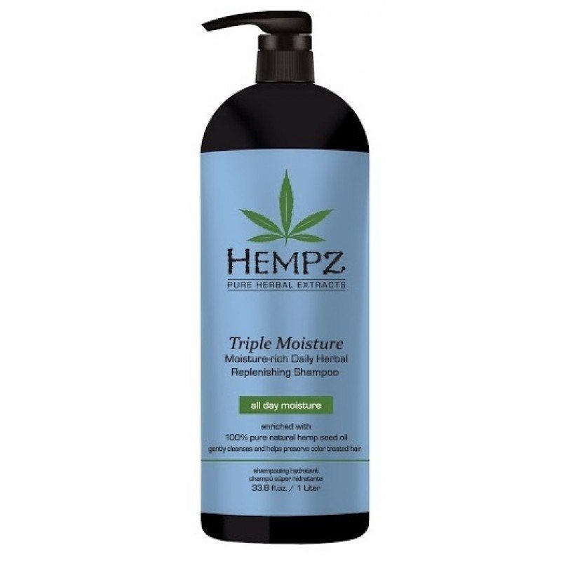 HEMPZ Шампунь Triple Moisture Replenishing Shampoo Тройное Увлажнение, 1000 мл cutrin premium moisture shampoo купить в москве