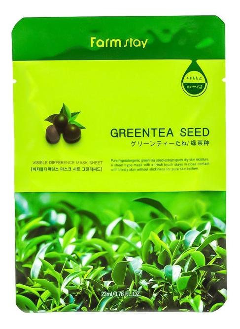 цены FarmStay Тканевая Маска для Лица с Экстрактом Семян Зеленого Чая Visible Difference Mask Sheet Greentea Seed, 23 мл
