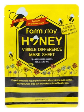 FarmStay Тканевая Маска для Лица с Экстрактом Меда Visible Difference Mask Sheet Honey, 23 мл farmstay маска тканевая для лица увлажняющая с экстрактом ласточкиного гнезда visible difference bird s nest aqua mask pack 23 мл