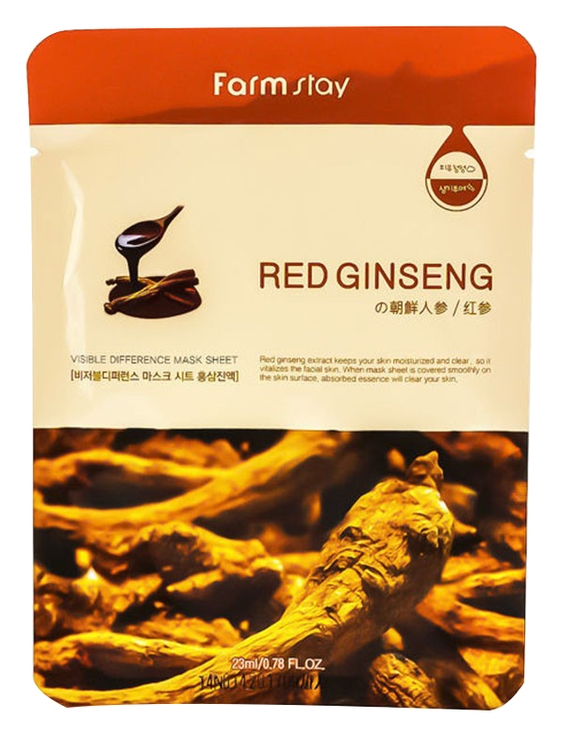 Фото - FarmStay Маска Visible Difference Mask Sheet Red Ginseng Тканевая для Лица с Экстрактом Красного Женьшеня, 23 мл маска на тканевой основе для лица с экстрактом красного женьшеня milatte fashiony ginseng mask sheet