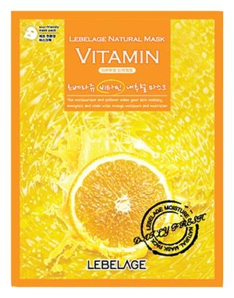 Lebelage Тканевая Маска с Витаминами Vitamin Natural Mask, 23г janssen розовая моделирующая маска с ацеролой и витамином c acerola vitamin c mask 500 гр
