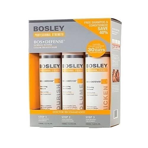 Bosley Система Желтая для Нормальных/Тонких Окрашенных Волос (Шампунь 150мл+кондиционер 150мл+уход 100мл) цена и фото