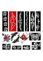 Трафареты Иероглифы Черно-Белые Многоразовые Каучуковые (Размер 8см х 11см)