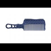 Расчёска с Ручкой, Зубцами на Обушке и Направляющей Рельсой Синяя для Стрижки под Машинку для Левшей