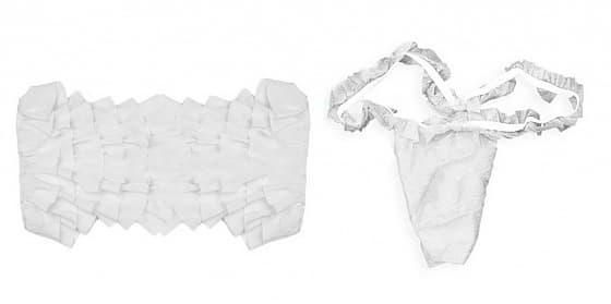 IGRObeauty Комплект Бюстье + Трусики с Рюшей Белый, 1 шт