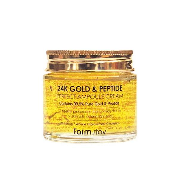 FarmStay Ампульный Крем с Золотом и Пептидами Perfect Ampoule Cream, 80 мл ampoule cream collagen ампульный крем для лица с коллагеном антивозрастной 50 мл