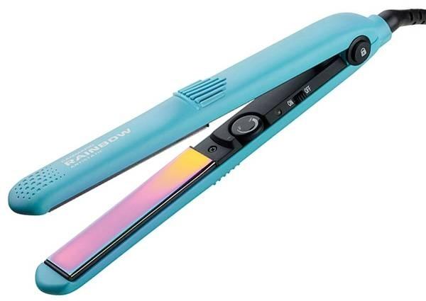 цена Gamma PIU Щипцы Rainbow 230° с Радужным Антистатическим Покрытием Голубые онлайн в 2017 году