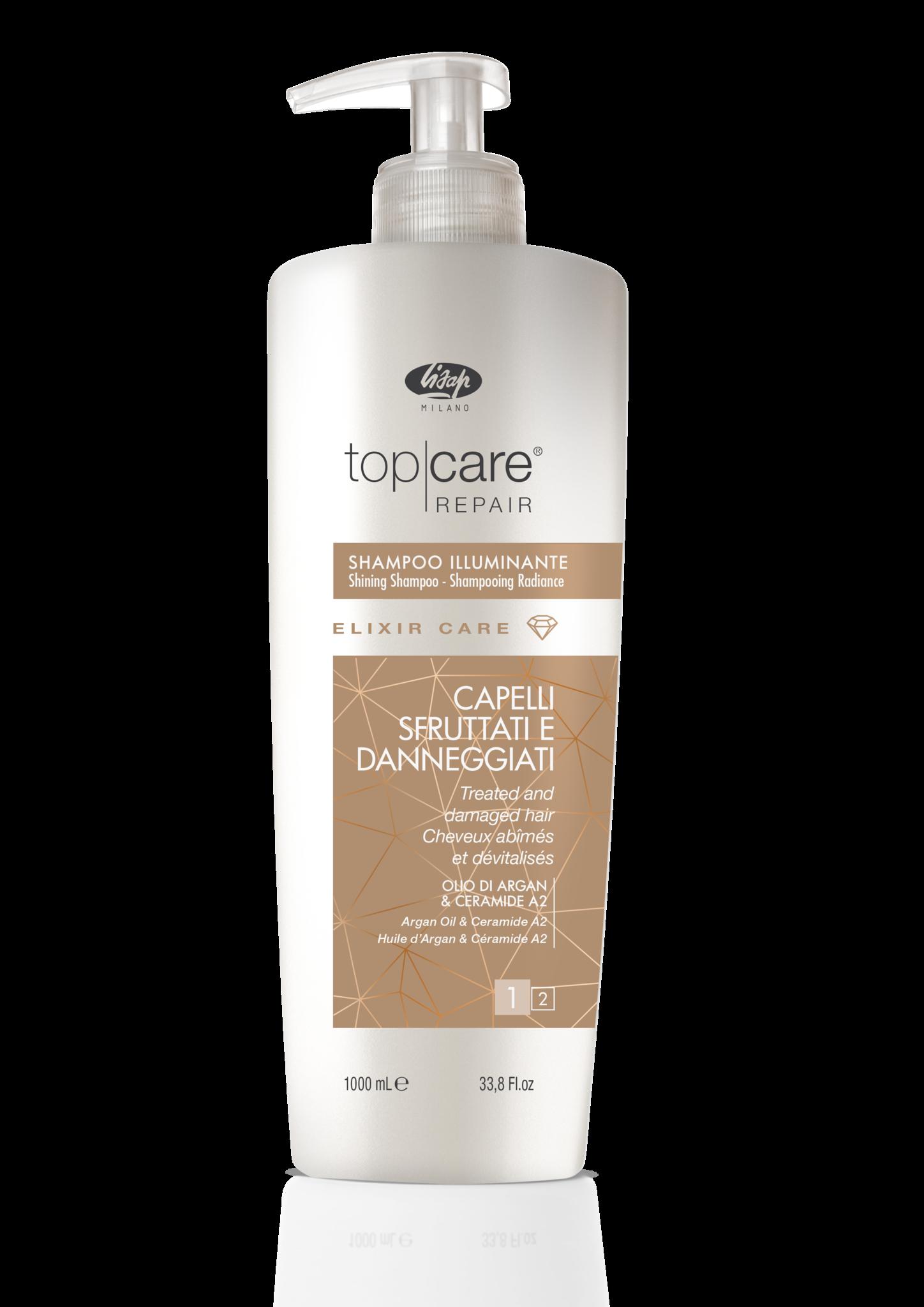Lisap Шампунь-Эликсир для Восстановления и Придания Сияющего Блеска Top Care Repair Elixir Shampoo, 1000 мл