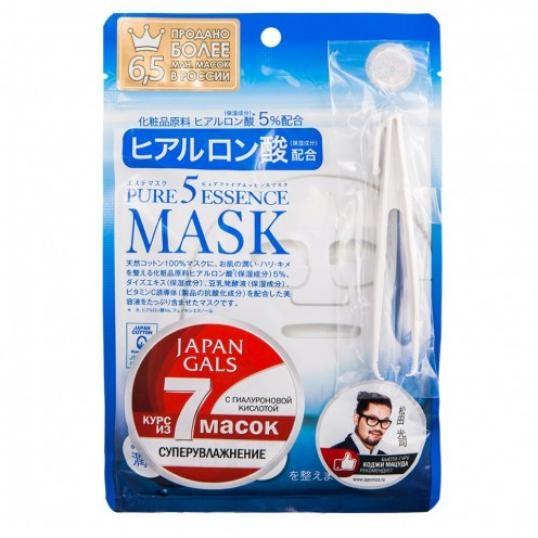 Japan Gals Маска Pure 5 Essence для Лица с Гиалуроновой Кислотой, 7шт