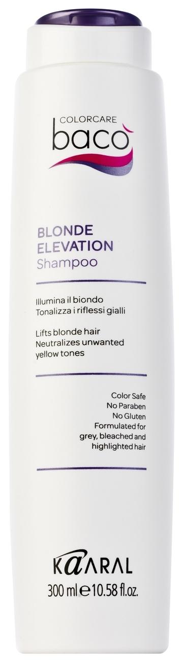 Kaaral Шампунь, Дающий Блеск Волосам и Тонирующий Седые Baco Color Collection-Blonde Elevation Shampoo, 300 мл dikson тонирующий шампунь для блондинок от желтизны dikso blonde anti yellow toning shampoo 300 мл