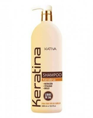 Kativa Кератиновый Укрепляющий Шампунь для Всех Типов Волоc, 1000 мл шампунь kativa коллагеновый шампунь kativa для всех типов волос colageno 1000 мл