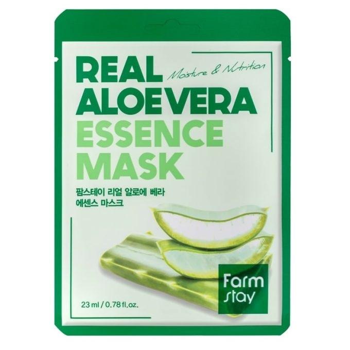 FarmStay Маска Real Aloe Vera Essence Mask Тканевая для Лица с Экстрактом Алоэ, 23 мл тканевая маска для лица с экстрактом алоэ вера real essence mask pack aloe 25мл